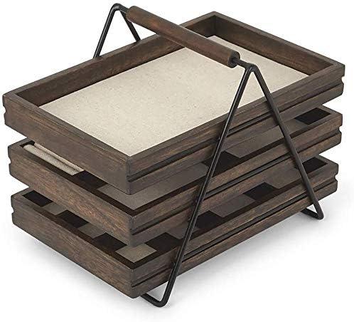 Caja de joyería armario de la joyería de la joyería escalera rack de almacenamiento caja de almacenamiento de tres niveles creativa joyero de madera sencilla joyero estante grande Caja de almacenaje: Amazon.es: