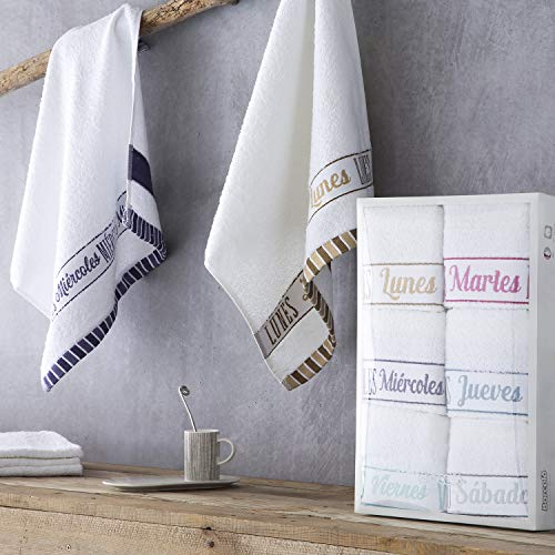 Barceló Hogar – ✔️ Pack 6 Paños de Cocina Katrine Semanario – Paños de Cocina Modernos – 100% Algodón Rizo Americano…