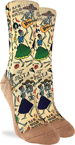 Good Luck Sock Women's Day of the Dead Crew Socks - Yellow, Adult Shoe Size 5-9 -