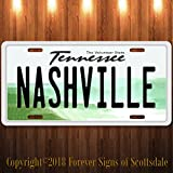 Nashville Tennessee City/State/College Vanity Aluminum License Plate