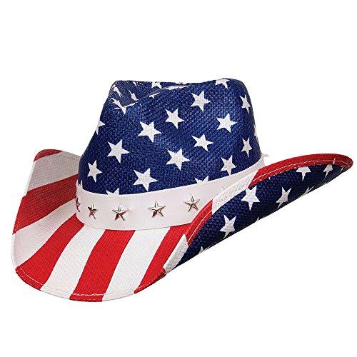 United - Deadwood Trading • American Flag Shapeable Straw Cowboy Hat ()
