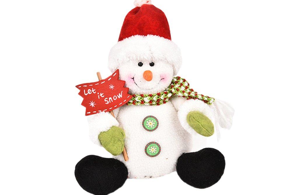 McDoo! Christmas Figurine Toy Adorable Snowman 3D Cute Doll Xmas Gife Idea Home Indoor Table Ornament Window Snowman (D)