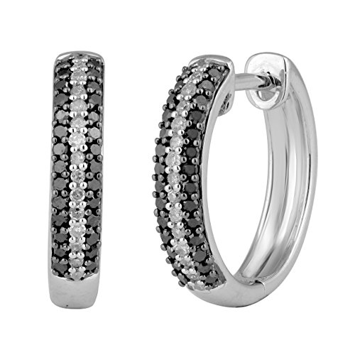 Jewelili femme  Argent 925/1000  Argent|#Silver Rond   Noir Diamant