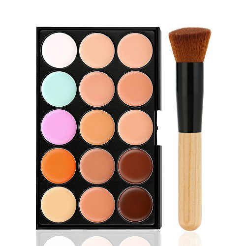 Buildent(TM) 15 Color Facial Cream Camouflage Concealer Palette + Foundation Makeup Brush +Sponge Powder Puff Cosmetic Set Make Up Tool