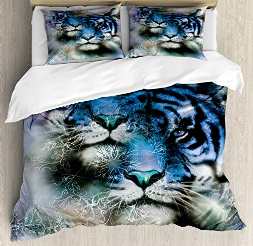 - Ambesonne Animal Decor Duvet Cover Set, Two Tiger Safari Cat African Wild Furious Life Big Animals Art Print, 3 Piece Bedding Set with Pillow Shams, White and Black