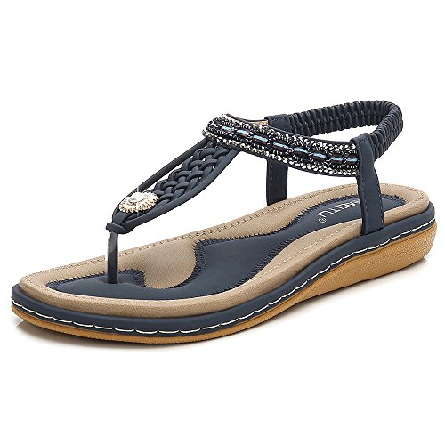 Beach De Piscina Cuero En para con PU con Sandalias Chancletas Diamantes Blue para Bohemia SHANLY Clip De Imitación Slip De Verano Zapatos Mujer De q8T4RWwx