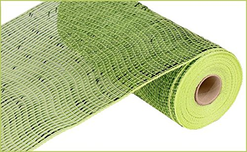 Deluxe Wreath - Deluxe Wide Foil Poly Deco Mesh, 10 Inches x 10 Yards (Apple Green, Lime Foil)