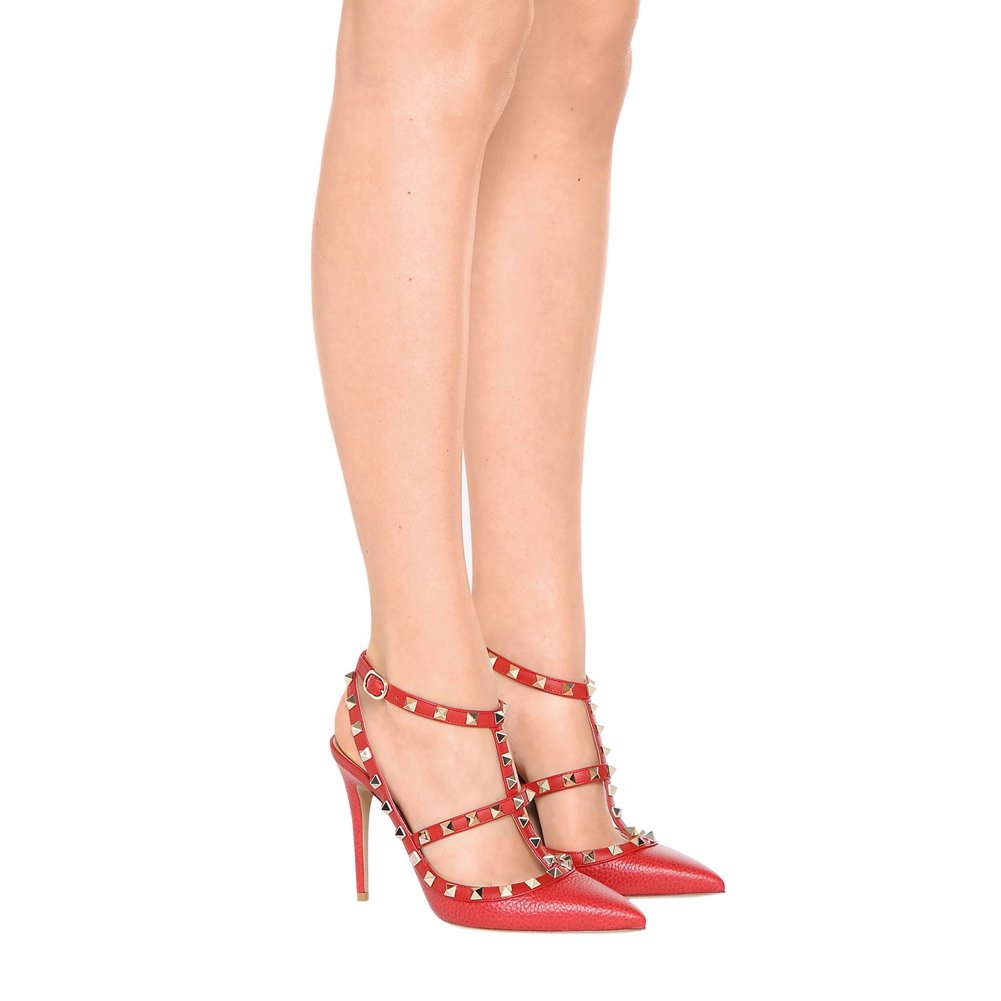 EKS Kleid-Partei Damen High Heels Sandalen Nieten Rivets Kleid-Partei EKS Pumps Rot mit Muster 996dac