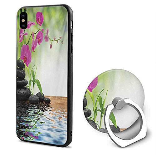 Spa iPhone x Cases,Composition Bamboo Tree Floor Mat Orchid Stones Wellness Greenery Fuchsia Charcoal Grey Lime Green,Mobile Phone Shell Ring Bracket