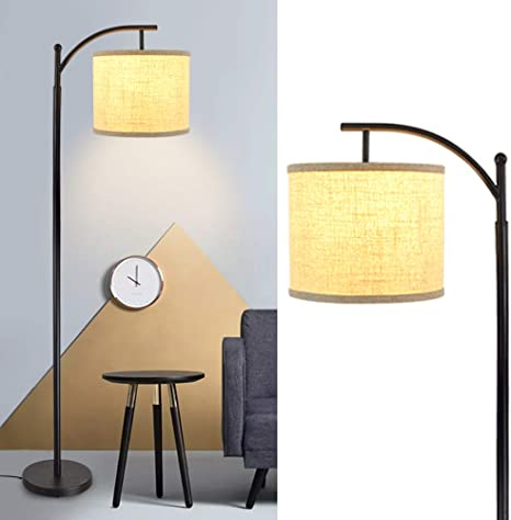 Amazon Com Dllt Modern Led Floor Lamp Standing Floor Lamp With Hanging Lamp Shade Arc Reading Tall Pole Floor Lamp For Living Room Bedroom Office Study Room Mid Century Farmhouse Bulb Included