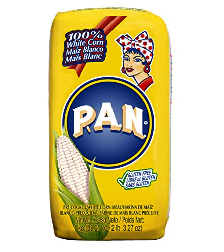 P.A.N. White Corn Meal – Pre-cooked Gluten Free and Kosher Flour for Arepas, 1 kg (35 oz / 2 lb 3.3 oz) (Pack of 3)
