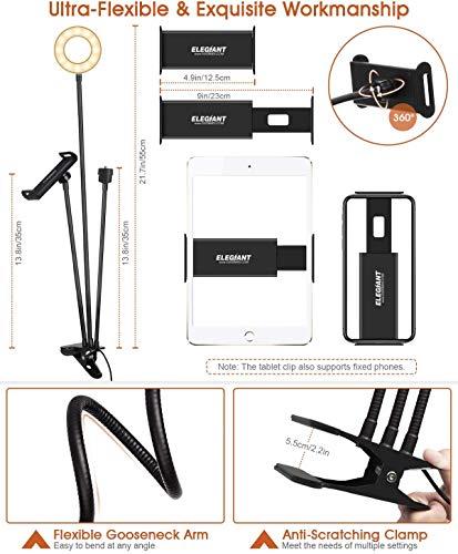 Anillo de luz con dos soportes, para móvil y para tablet. Compra un Aro de Luz con pinza para mesa.