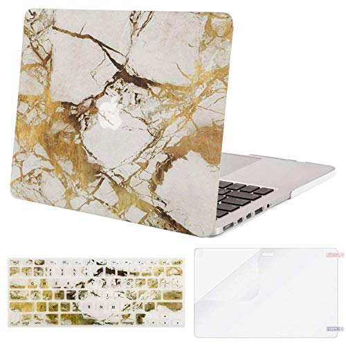 MOSISO Case Only Compatible with Older Version MacBook Pro Retina 13 inch (Model: A1502 & A1425)(Release 2015-end 2012),Plastic Pattern Hard Shell&Keyboard Cover&Screen Protector, White&Gold Marble