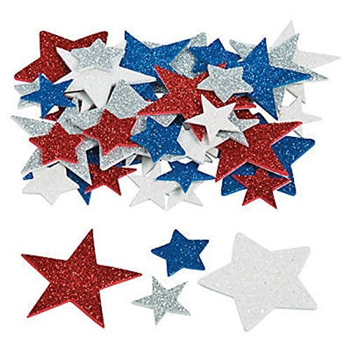 GoodyBag 100 - Glitter Star Patriotic Foam Stickers / Self-adhesive Shapes - 1 to 2 inch - New