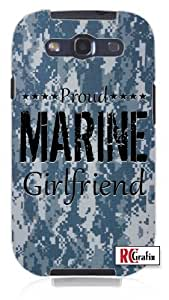 Camouflage Proud Marine Girlfriend Digital Camo Blue Unique Quality Soft Rubber TPU Case for Samsung Galaxy S4 I9500 - White Case