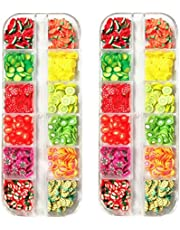Solustre 2 Boxes 3D Polymer Clay Fruit Slices Watermelon Pineapple Strawberry Lemon Charms Embellishment Nail Sequins for DIY Craft Nail Art Decoration Supplies (Random Style)