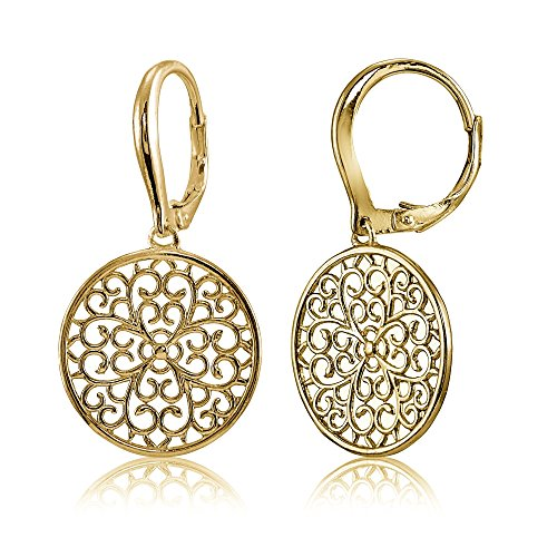 Yellow Gold Flashed Sterling Silver High Polished Medallion Filigree Leverback Earrings (Filigree Medallion)