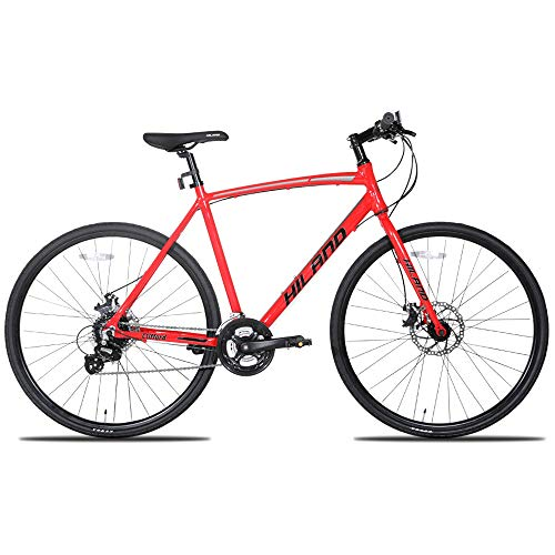 Hiland Road Hybrid Bike for Men and Women,Adult Teenager Youth Boys Girls Urban Commuter City Bicycle, 700C Wheels Shimano 24 speeds Bikes, Red