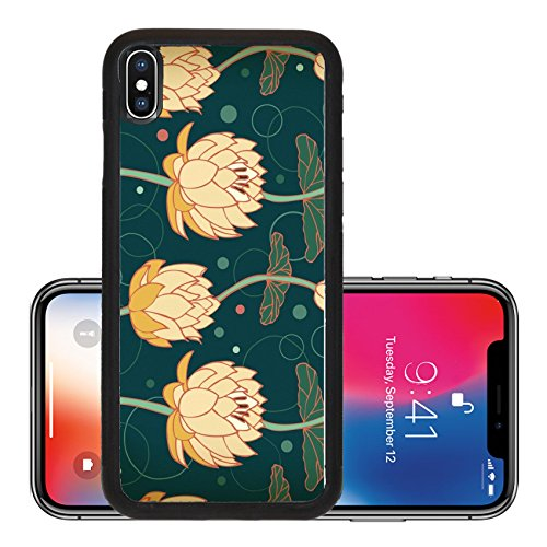 Price comparison product image Liili Premium Apple iPhone X Aluminum Backplate Bumper Snap Case IMAGE ID: 18371959 Lotus background Floral pattern with water lilies Seamless nenuphar cute backdrop can be for greeting cards