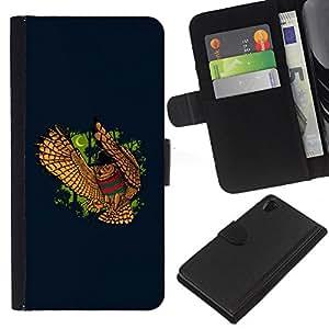 Sony Xperia Z2 D6502 D6503 D6543 L50t L50u , la tarjeta de Crédito Slots PU Funda de cuero Monedero caso cubierta de piel (Funny - Night Owl)