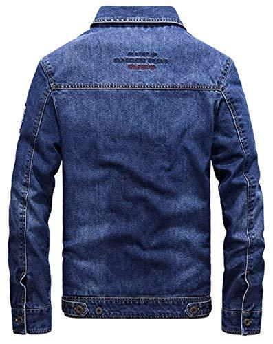 In Risvolto Marineblau Uomo Cerniera A Maniche Jeans Classica Di Comodo Con Lunghe Giacche Da Uomo Giacca Battercake Rqa0xwvI1
