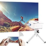 """AMOOWA 120"""" Wireless Mobile Projector with Wifi- HD Video Display & 20,000 Hours LED Display, DLP Pico Home Theater - Compatible with DLNA, Airplay, Miracast, Android - Support HD 1080P"""