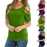 Kinrui Womens Tops Short Sleeve Shirts Crisscross Cold Shoulder Casual Plain Tunic Blouse Loose Tops (Green -1, 2XL)