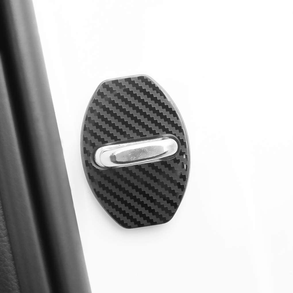 JINZHAO Stainless Steel Car Door Lock Latches Cover Protector Replacement for Audi A3 A4 Allroad A5 A6 A7 A8 Q3 Q5 S3 S4 S6 S7 S8 SQ5 E-tron Car(Pack of 4 Black Titanium