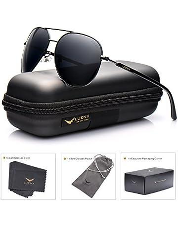 e31efebd2 LUENX Aviator Sunglasses Mens Women Polarized Black Lens Black Metal Frame  Dark 60mm with Case -