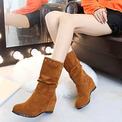 Rivets Pure Round Suede Shoes Booties Color Red Shoes Shoes Brown 35 Brown 43 Warm Toe JERFER Keep Women Wedges Black xqPnCCBE