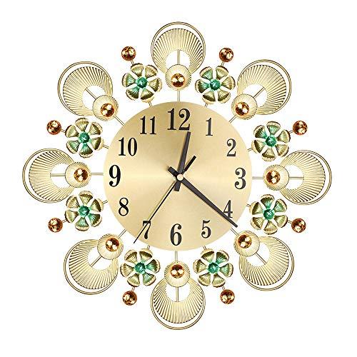 HYYQG Metal Wall Clock, Crystal Diamond Non Ticking Silent Quartz Bling Art Decor Mirror Modern Style Decorative Home Living Room Office Bar for Housewarming Gift, Gold
