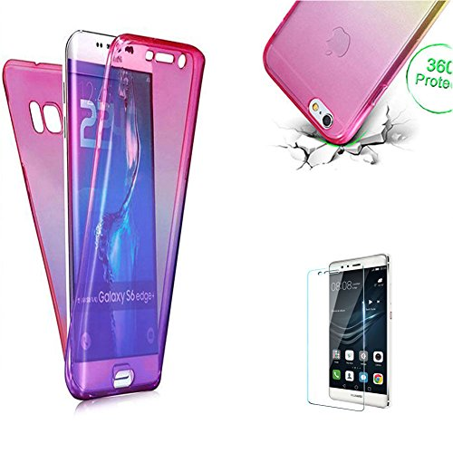 Price comparison product image Funyye Clear Transparent Case for Huawei P20 Lite, Pink Purple Crystal Rubber Soft TPU Case for Huawei P20 Lite, Ultra Thin Silicone 360 Degree Full Body Front and Back Protection See Through Case