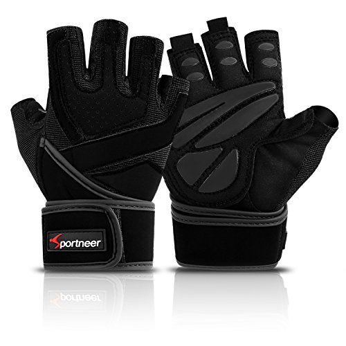 Sportneer Weightlifting Gym Gloves, Full Palm Protection with Built-in Wrist Wraps for Fitness Workout Exercise, Pull Ups, Bike Training, Men & Women (Pair), XL