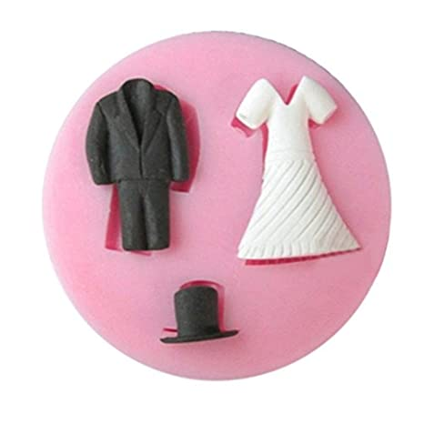 LC negocios Traje y falda Cap X1015 molde de silicona Fondant Cake Mold chocolate Baking Sugarcraft