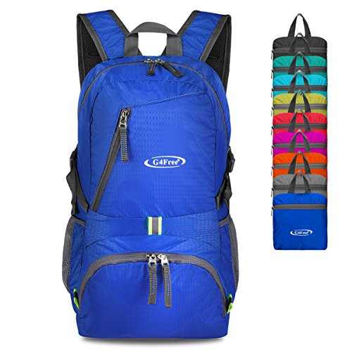 G4Free 40L Lightweight Packable Durable Travel Hiking Backpack Handy Foldable Camping Outdoor Backpack Daypack (Blue)]()