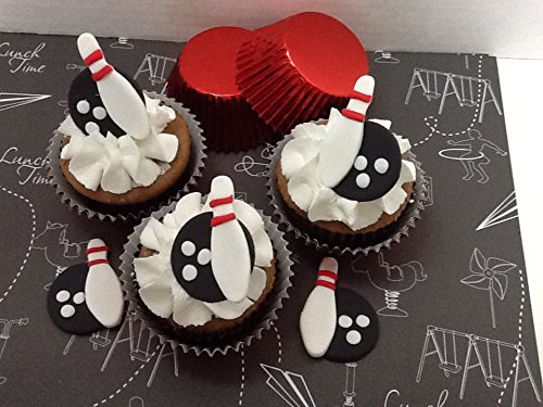 Bowling Cupcake Toppers made of vanilla fondant/BABY SHOWER/Special Decorations/Cake Supplies/BIRTHDAYS. Center pieces or Party Favors