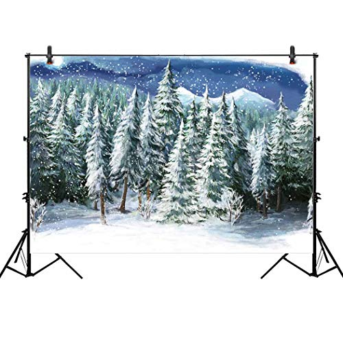 Allenjoy 10x6.5ft Winter Landscape Backdrop for Studio Photography Christmas Green Snowy Forest White Wonderland Snowflake Scene Holiday Pictures Background Newborn Children Portrait Photo Shoot Props