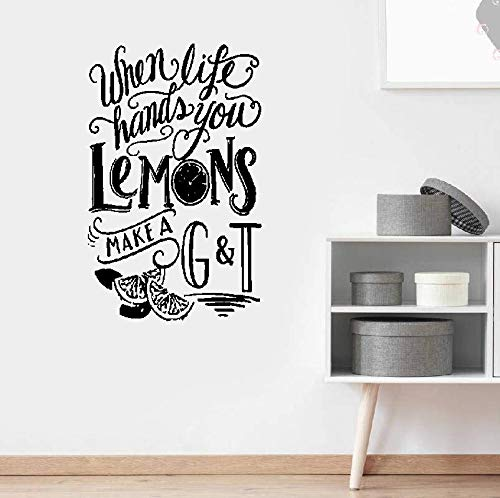 Wall Stickers Art Decor Vinyl Peel and Stick Mural Removable Decals When Life Hands You Lemons Make A G and T
