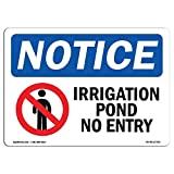 Everett Goodman Home Decor - Safety Sign Notice Irrigation Pond No Entry.8x12 Inch Metal Tin Sign