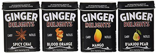 Big Sky Ginger Delights - Spiced Chai, Blood Orange, Mango, and D'Anjou Pear - Variety 4 Pack - Naturally Flavored Ginger Mints in Resealable Metal Tin