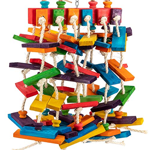 MEWTOGO Large Bird Parrot Chewing Toys- Multicolored Natural Wooden Knots Blocks Waterfall Bird Tearing Entertaining Toys Suggested for Cockatoos, African Grey and a Variety of Amazon Parrots