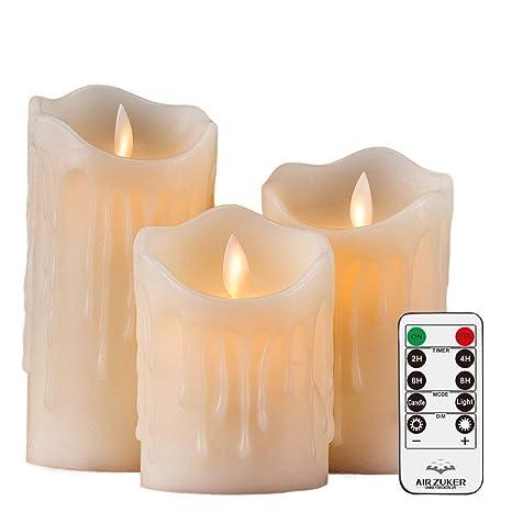 Batteriebetriebene Kerzen Mit Beweglicher Flamme.Air Zuker 3er Led Flammenlose Kerzen Tropfenförmige Batteriebetriebene Kerzen Säule Echtwachskerzen Mit Timer Und 10 Tasten Fernbedienung Höhe 4 5