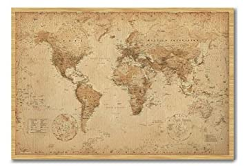 World map poster ye old parchment cork pin memo board beech framed world map poster ye old parchment cork pin memo board beech framed 965 x 66 gumiabroncs Gallery