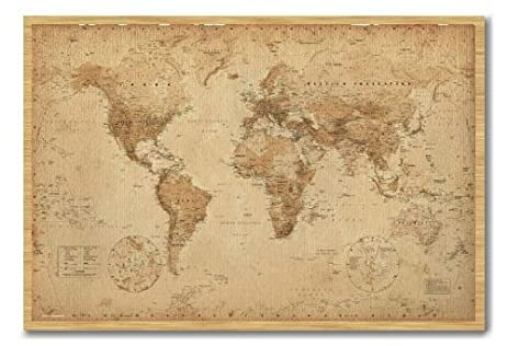 Amazon iposters world map poster ye old parchment cork pin memo iposters world map poster ye old parchment cork pin memo board beech framed 965 x gumiabroncs Images