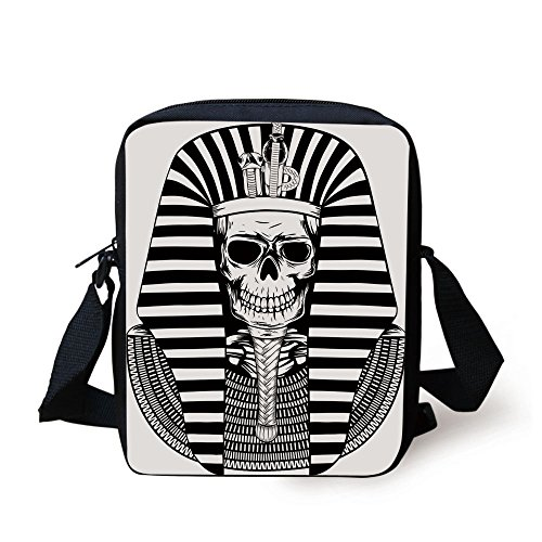 IPrint King,Egyptian Pharaoh Ruler Mummy Skull Skeleton Statue for Ancient Egypt Lovers Print,Black and White Print Kids Crossbody Messenger Bag Purse