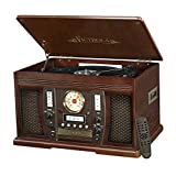 Victrola Nostalgic Aviator Wood 7-in-1 Bluetooth Turntable Entertainment Center, Espresso
