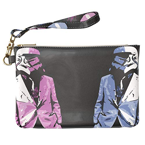 Lex Altern Makeup Bag 9.5 x 6 inch Fashion Stormtrooper Pink Suit Blue Star Wars Art Design Print Purse Pouch Cosmetic Travel PU Leather Case Toiletry Women Zipper Bathroom Wristband Girl Accessories]()