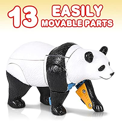 Cool Transforming Panda Toy for Kids Fun Birthday Gift Idea for Boys and Girls ArtCreativity Panda-Robot Transformer Action Figure 13 Moving Parts Cool Contest or Carnival Prize
