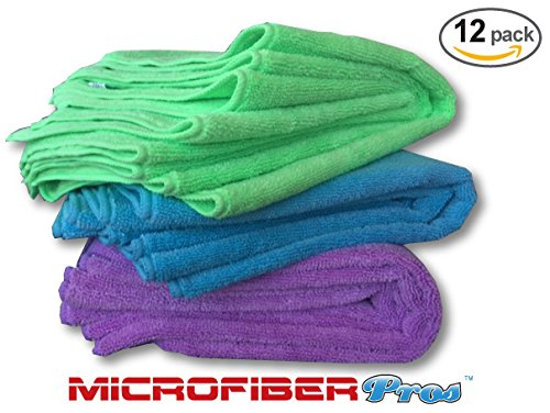 Super Thick 350 GSM Microfiber Cloths - 12 Pack Large 16