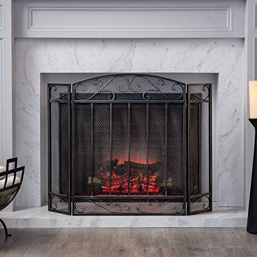 暖炉スクリーン メッシュカバー、ベビー/ペット安全火災スクリーンスパークガードのためのオープン火災/ガス火災/ログウッドバーナーで3-パネルブラック暖炉スクリーン